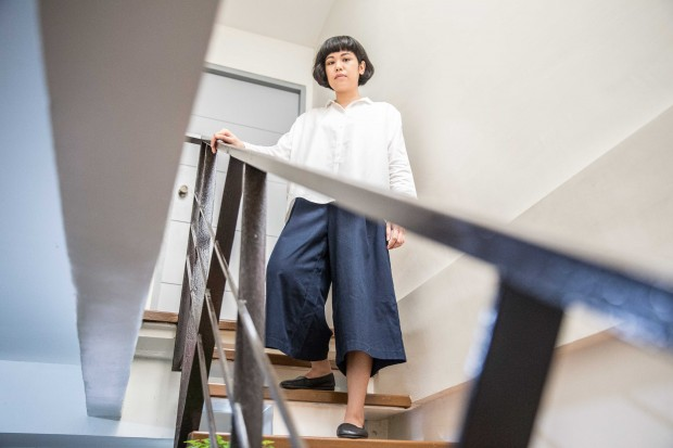 """My boyfriend always tells me: 'You look so architectural!'"" White blouse from Giordano Ladies, blue culottes from Old Navy, black Kung Fu flats from Aerosoles"