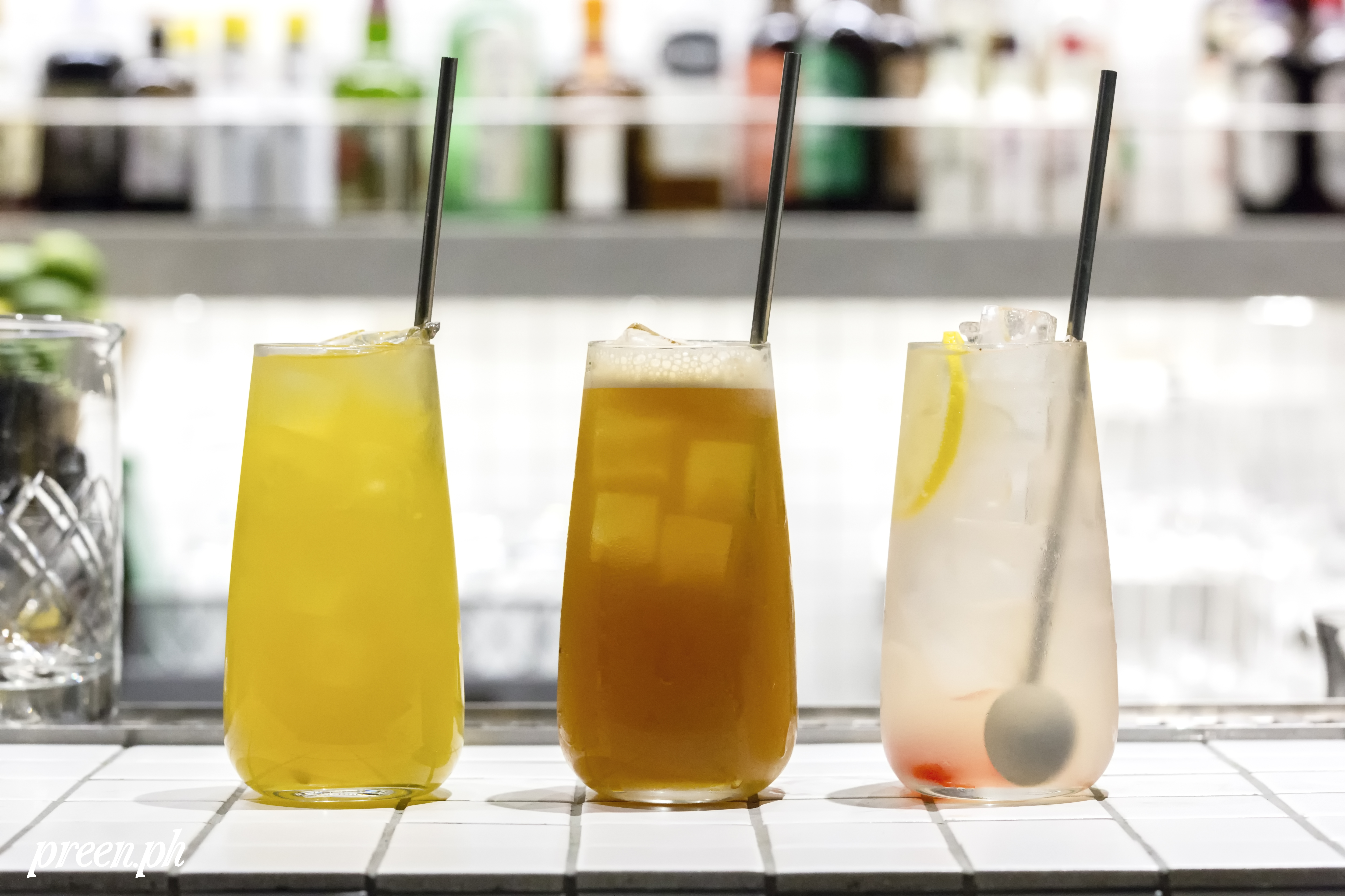 Left to right: Donkey Punch, House Blend Iced Tea, and Cherry Pop