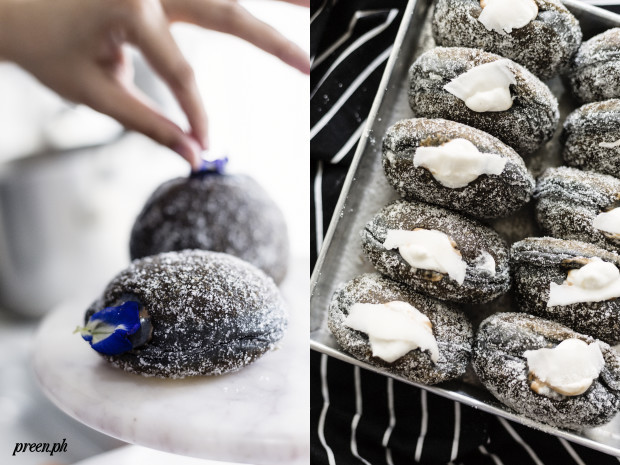 Charcoal-infused donuts with coconut cream