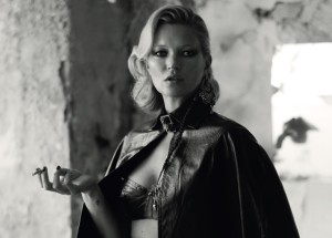 kate moss wearing leather for dazed magazine