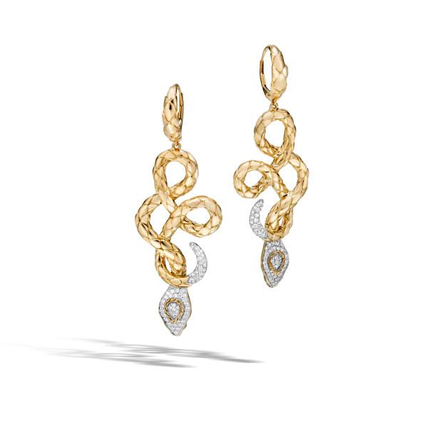 John Hardy Legends Cobra 18K Gold Drop Earrings with Diamonds