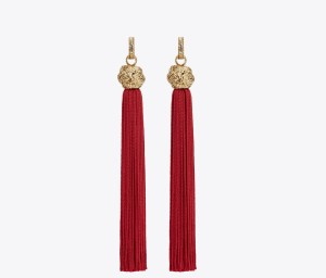 Loulou Pair of Clip Earrings in Red     Viscose Tassel and Pale Gold-Toned Brass (1)