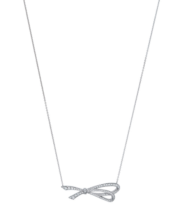 Tiffany Bow Pendant in 18k White Gold