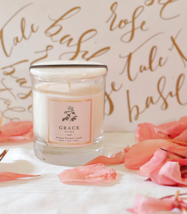 grace home rose talc basil candle