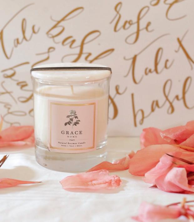 grace home rose talc basil candle