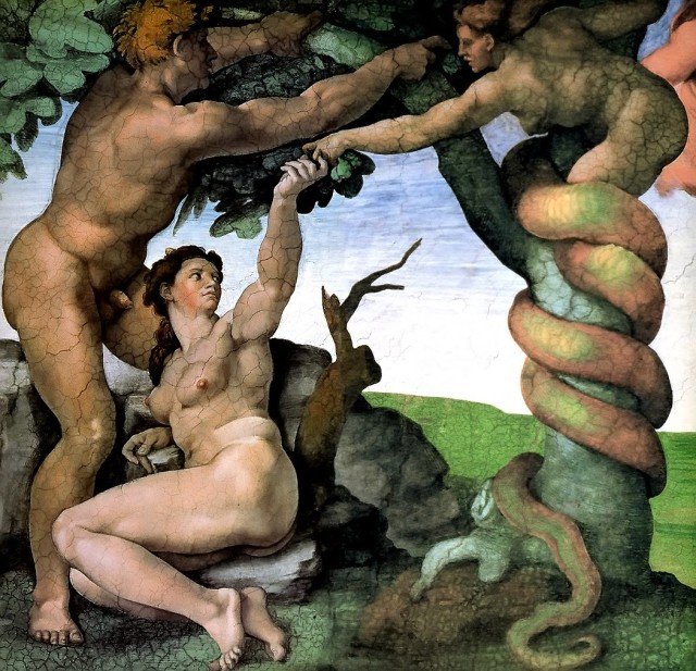 'The Fall and Expulsion from Garden of Eden' by Michelangelo