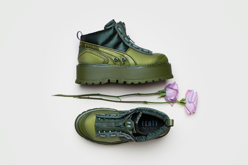 e9f25f154d13 Blush pink heels and green-hued sneakers figure in the spring collection of  Fenty PUMA. Take a peek at the collection right here before it drops on ...