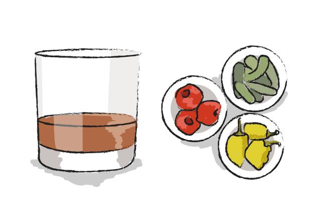 Bourbon and Pickled Vegetables