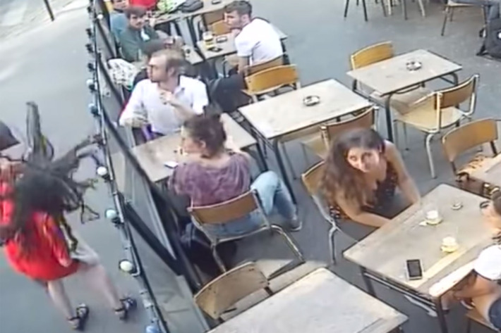 CCTV shows man attack Paris woman who challenged his sexist insults