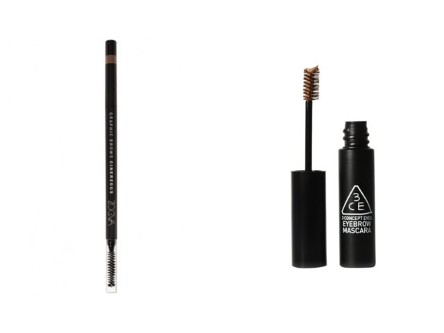 ZOEVA Graphic Brows Eyebrow Pencil in Cinereous and 3CE Eyebrow Mascara in Brown