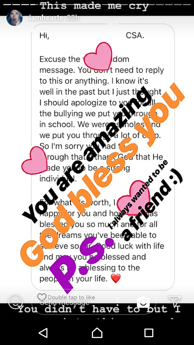 b0524cbebdf Heart Evangelista s former bully had a message for her - Preen.ph