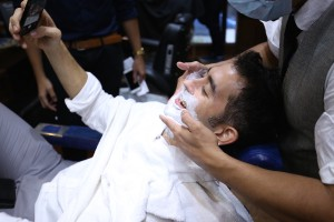 Ministry of Mushrooms founder Marco Lobregat getting his shave.